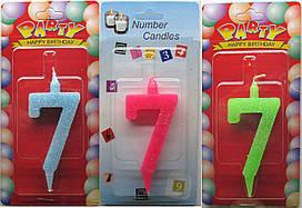 """Свечи циферки """"Цветные"""" 7"""