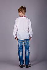 Хлопчача сорочка з комірцем і червоним орнаментом, фото 3