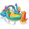 """Intex Игровой центр """"Планета динозавров"""" с горкой, душем, мячиками и надувными игрушками."""