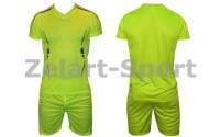 Форма футбольная без номера подростковая CO-3123-LG (PL, р-р S-L, салатовая, шорты салатовые)
