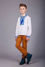 Хлопчача сорочка з комірцем і синім орнаментом, фото 3