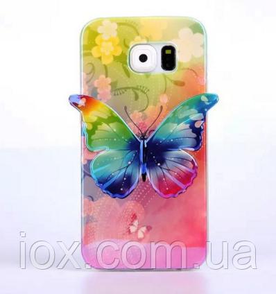Силиконовый зеленый глянцевый чехол-бабочка для Samsung Galaxy S6
