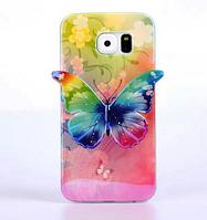 Силиконовый зеленый глянцевый чехол-бабочка для Samsung Galaxy S6, фото 1