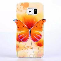 Силиконовый желтый глянцевый чехол-бабочка для Samsung Galaxy S6