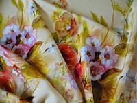 Ткань шерстяная  тонкая Цветы