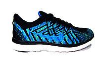 Женские, подростковые кроссовки Nike Free Flyknit, текстиль, черные с синим, Р.  36 39 40 41