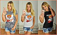"""Женская футболка """"Мишка"""" в расцветках"""