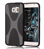 Силиконовый черный чехол X-линия для Samsung Galaxy S6, фото 1