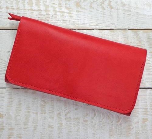 Яркое портмоне из натуральной кожи GBAGS  W.0009-ALI красный
