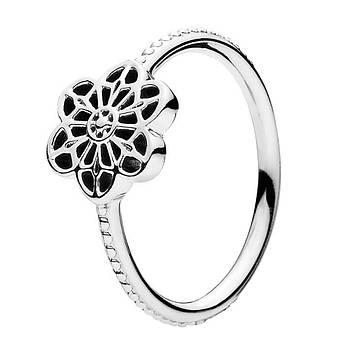 Кольцо из серебра цветочное кружево