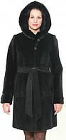 Шуба из нутрии в чёрном цвете с капюшоном 90 см, фото 1