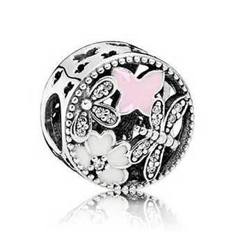 Подвеска-шарм из серебра «Цветочное настроение» в стиле Pandora