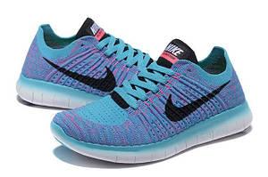 Кусочек неба в женских кроссовках Nike Free Run Flyknit 5.0 Magasin Blue