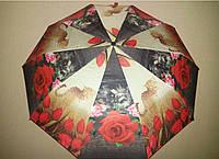Зонт женский Susino 1406 полуавтомат Цветы-леопард