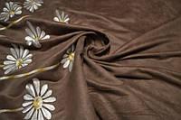 Ткань Замшевая  с вышивкой.Ромашки.