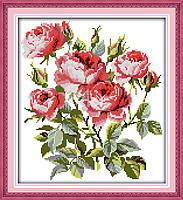 """Набор для вышивки крестом с печатью на ткани 14ст  """"Цветение роз  """""""