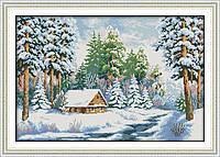 """Набор для вышивки крестом с печатью на ткани 14ст  """"Зима"""""""