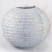 Подвесной фонарик из ткани в блестках, серебро, 25 см