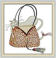 """Набор для вышивки крестом с печатью на ткани 14ст  """"Кот в сумочке """""""