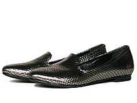Туфли лоферы женские кожаные с серебристой фактурой