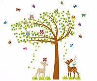 """Наклейка на стену, наклейки для детского сада """"влюбленные оленята возле дерева с совами"""" 1м70см(2листа90*60см)"""