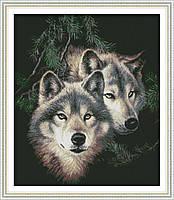 """Набор для вышивки крестом с печатью на ткани 14ст  """"Пара волков 2 """""""