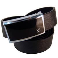 Ремень мужской Louis Vuitton из кожзама черный (2719)