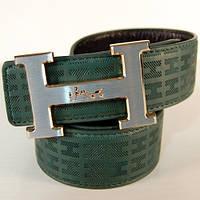 Ремень кожаный мужской Hermes двухсторонний зеленый/черный (2855-1)