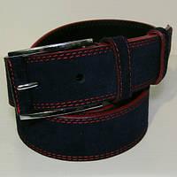 Ремень кожаный замшевый мужской JK темно-синий (6179-2)