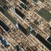Мозаика мрамор со стеклом Vivacer L1170 коричневая