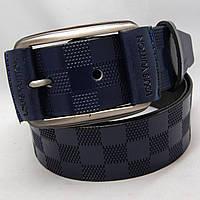 Ремень кожаный мужской Louis Vuitton реплика тёмно-синий (8346)