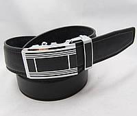 Ремень мужской автомат из кожзама JK черный (8352)