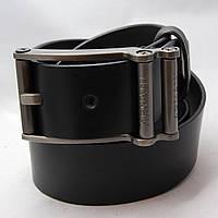Ремень кожаный мужской Armani черный (8370)