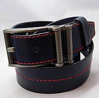 Ремень кожаный мужской Armani темно-синий (8371)