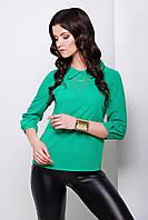 Блуза Тамила д/р зелёная шифоновая свободного кроя с оригинальным воротником и застёжкой на спине