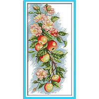 """Набор для вышивки крестом с печатью на ткани 14ст  """"Цветы и яблоки """""""