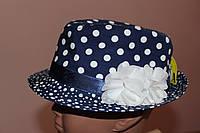 Шляпка для девочки Синяя в горох