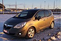 Дефлекторы боковых стекол Opel Meriva B 2011 (до форточки) (Опель Мерива Б) Cobra Tuning
