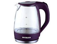 Прозрачный электрочайник с подсветкой Vitalex VL-2020, электрический чайник, электрочайник стеклянный