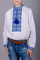 Вышитая рубашка на мальчика синий узор