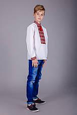Вышитая рубашка на мальчика красный узор , фото 3