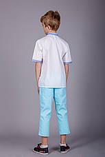 Вышитая рубашка на мальчика с синим орнаментом и короткий рукавом, фото 3