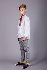Вишита сорочка хрестиком на білому батісті з червоним візерунком на підлітка, фото 2