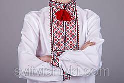 Вишиванка хрестиком на білому батісті з незвичайним орнаментом, фото 3