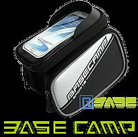 Велосипедная двухсторонняя сумка на раму для смартфона BaseCamp L Серебристая