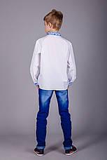 Дитяча вишита сорочка з синім орнаментом і довгим рукавом, фото 3