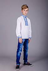 Дитяча вишита сорочка з синім орнаментом і довгим рукавом, фото 2