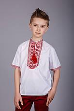 Вишита сорочка на хлопчика з червоним орнаментом і короткий рукавом, фото 3