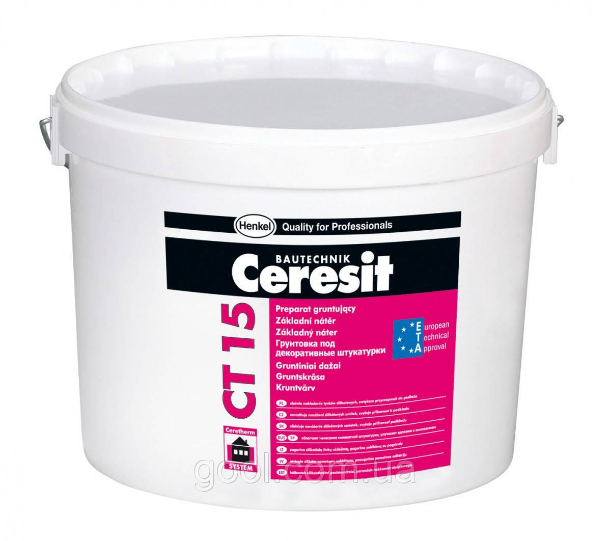 Грунтовка под декоративную штукатурку Ceresit CT 15 silicone ведро 15 кг