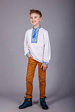 Вышитая рубашка крестиком на белом батисте с оригинальным узором, фото 2